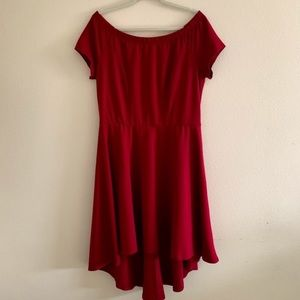 Love Square plus size 1XL dress red high low